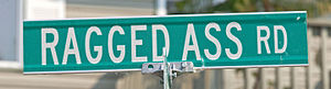 Ragged Ass Road blade sign, Yellowknife, NT.jpg