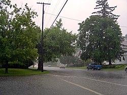 Día de lluvia en Mansfield.