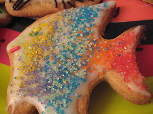 Rainbow fish sugar cookie.