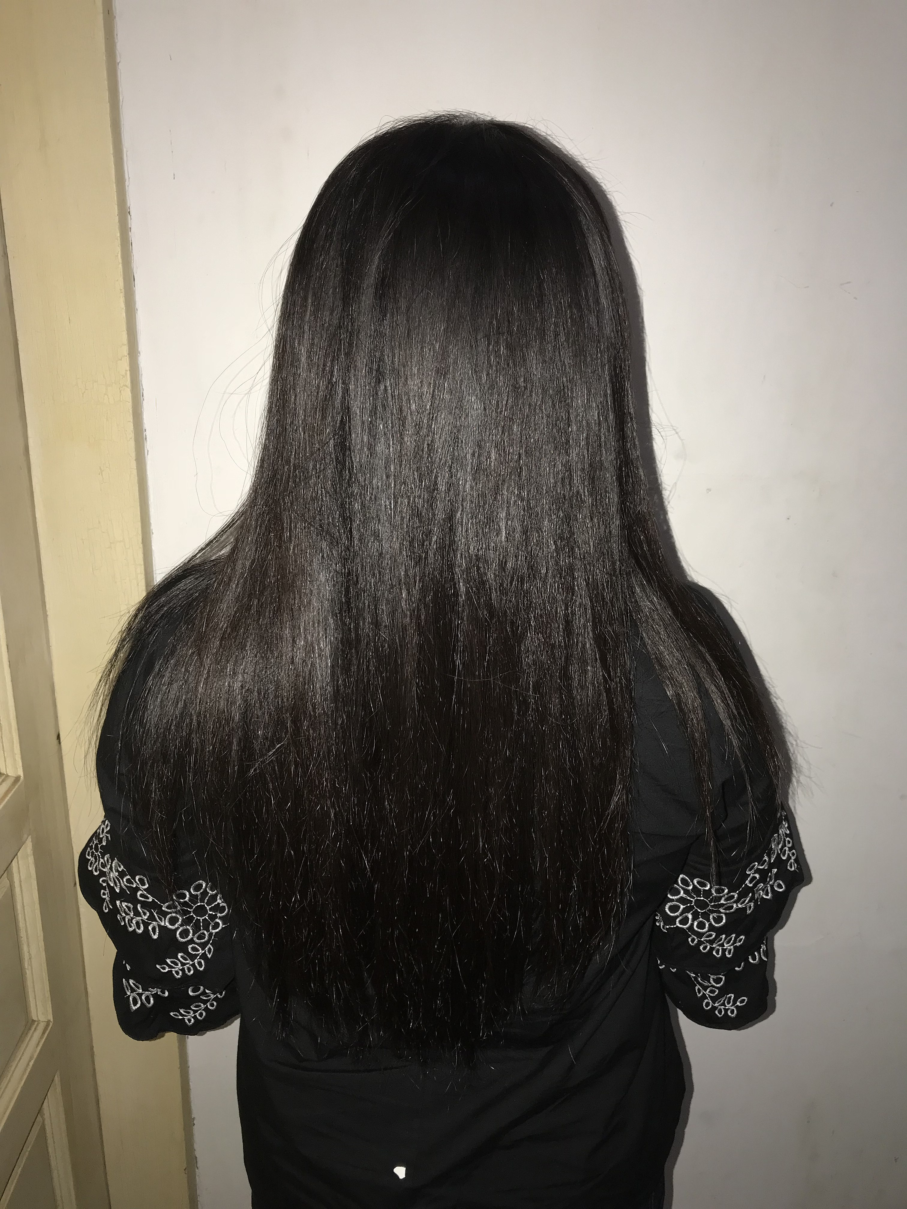 File:Rear view of a woman with shiny long black hair.jpg