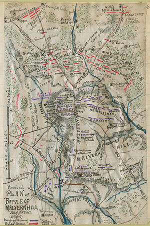 "Battle of Malvern Hill - This map of the Malvern Hill battlefield labels the Willis Church Road as ""Quaker Road"". Magruder's ""Quaker Road"" branched off of the Long Bridge Road, which appears in the upper left corner."