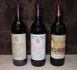 Ribera del Duero - Wine bottles from three well-known bodegas in Ribera del Duero: Alion, Vega Sicilia (here its second wine, Valbuena 5°) and Pesquera