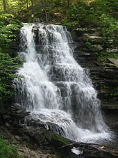 A large waterfall cascades down a near vertical rock face composed of many layers. Lush green vegetation surrounds the falls, with dappled sunlight at top.