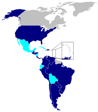 Inter-American Treaty of Reciprocal Assistance - Member states in dark blue, states that withdrew in cyan. (Representing 754,901,942 citizens)