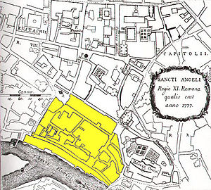 Roman Ghetto - Map of the Rione Sant'Angelo from 1777, coloured to show the extent of the ghetto at that time