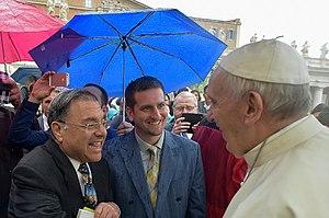 Shlomo Riskin - Rabbi Shlomo Riskin, and CJCUC Executive Director, David Nekrutman, meet with Pope Francis in Rome, Italy, 26 October 2016