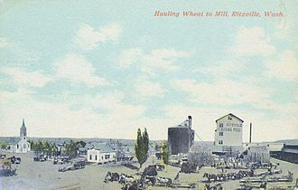 Ritzville, Washington - Hauling Wheat to Mill, Ritzville c. 1908