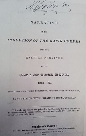 Robert Godlonton - Signed copy of Robert Godlonton's publication in defence of settler grievances against the Xhosa and their liberal defenders in Cape Town.
