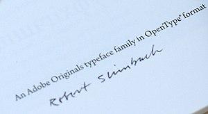 Robert Slimbach - Slimbach's signature on a copy of the Arno Pro specimen.