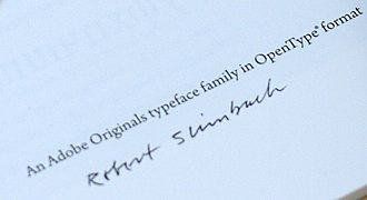 Robert Slimbach - Slimbach's signature on a copy of the Arno Pro specimen.