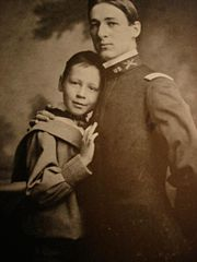 Robert (left) with his brother, Edmund. Edmund would perish in the Spanish-American War, profoundly affecting Robert and influencing his later pacifist views.