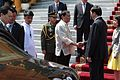 Rodrigo Duterte shakes hands with Vietnamese President Tran Dai Quang at the State Palace in Hanoi on September 29 (2).jpg