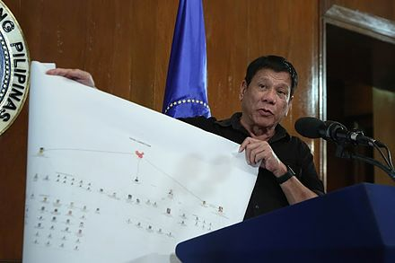 Duterte presents a chart which he claims illustrates a drug trade network of drug syndicates, on July 7, 2016. Rodrigo Duterte showing diagram of drug trade network 2 7.7.16.jpg