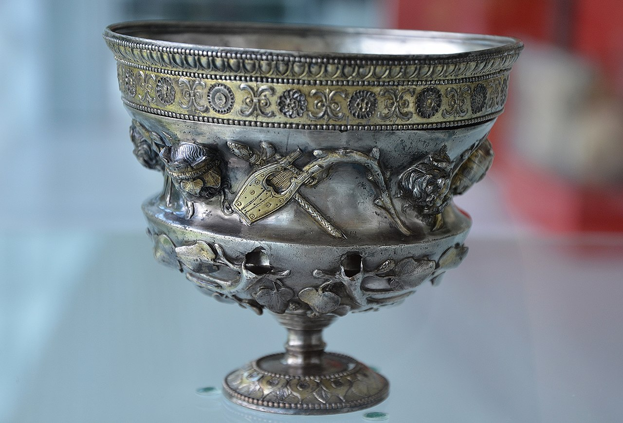 File Roman Silver Cup Decorated With Stylized Flower Leaf
