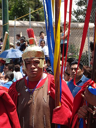 Holy Week in Mexico - Participant dressed as a Roman soldier for the Iztapalapa passion play