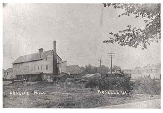 Roselle, Illinois - Roselle Flour and Feed Mill in 1895, before it burned down in 1916