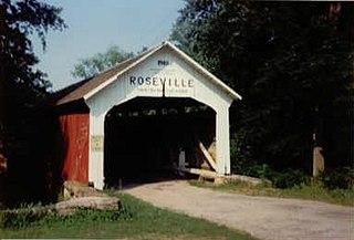 Roseville-Coxville Covered Bridge bridge southeast of Mecca, Indiana