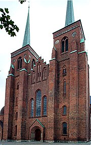 West face of Roskilde Cathedral in Roskilde, Denmark.