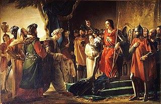 Saint Louis recoit à Ptolemais les envoyes du Vieux de la Montagne, 1251