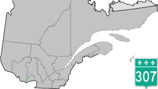 Quebec Route 307 highway in Quebec