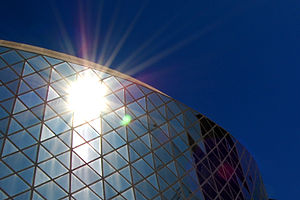 Sunshine glare off Roy Thomson Hall, Toronto, ...
