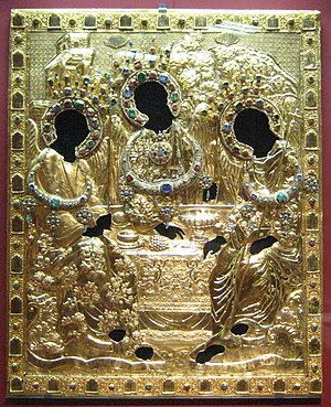 Trinity (Andrei Rublev) - Boris Godunov's riza for The Trinity with tsatas added at the time of Michael I, made from gold and silver with gemstones, pearls. The end of the 16th century.