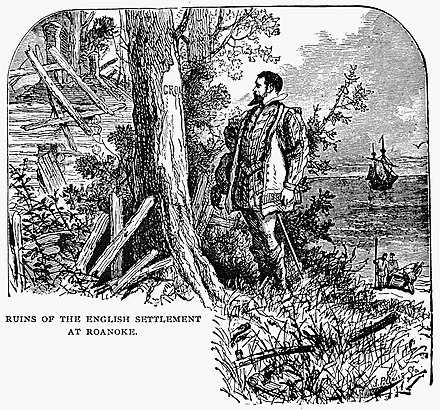 John White at the ruins of the Roanoke colony, 1590 Ruins of the English Settlement at Roanoke.jpg