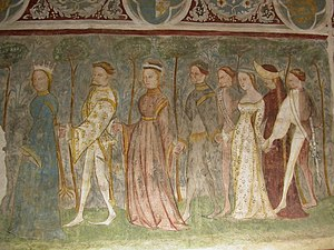 Medieval dance - Fresco at Runkelstein Castle, South Tyrol, Italy