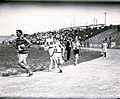 Runners circling the stadium track for the first time during the Marathon Race in the 1904 Olympics during Louisiana Purchase Exposition. -9 Frank Pierce; -12 Michael Spring; -32 Charilaos Giannakas; -20 Thomas Hicks; -10 Sam Mellor.jpg