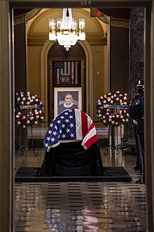 Ginsburg was honored in a ceremony in Statuary Hall, and she became the first woman to lie in state at the Capitol on September 25, 2020 in the United States Capitol.