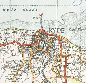 Ryde Pier Head railway station - A 1945 Ordnance Survey of Ryde showing the location of the Ryde Pier Head, Ryde Esplanade and Ryde St John's Road stations