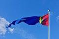 Sámi (Saami) flag, pennant of Sàpmi, blue sky. Sameflagg vimpel blå himmel. Harstad 2019-05-09 DSC01229.jpg