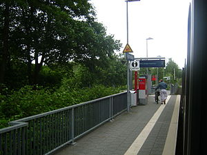 Agathenburg station - The platform of Agathenburg station from an arriving train in 2013