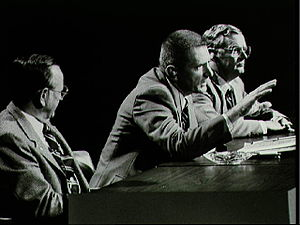 Glynn Lunney - Glynn Lunney (far right) as manager of the Shuttle program, at a press conference with Chris Kraft and Gene Kranz in 1981