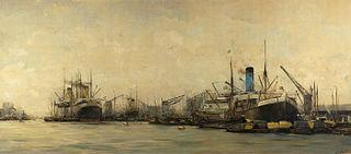 """Gezicht op de IJhaven en de Javakade naar het westen, met een """"blauwpijper"""" van de Nederlandsche Stoomvaart Maatschappij Oceaan"""