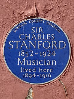 Sir charles stanford 1852 1924 musician lived here 1894 1916