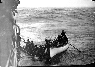 SS Valencia - Survivors on a life raft being rescued by City of Topeka