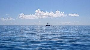 Horizon - View of the ocean with a ship near to the horizon