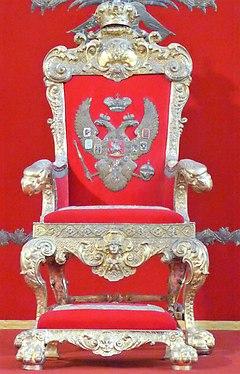 Saint-Pétersbourg.- Le trône de Pierre le Grand dans Palais d'Hiver, au Musée de l'Ermitage.JPG