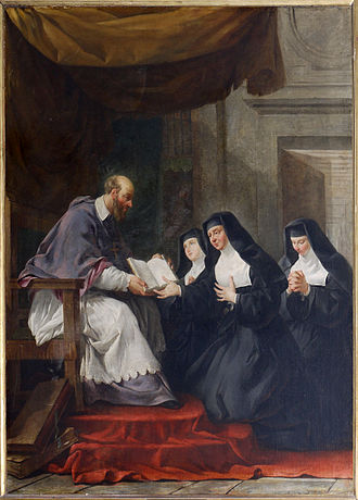 Order of the Visitation of Holy Mary - St. Francis de Sales giving the Rule for the Order of the Visitation of Holy Mary to St. Jane Frances de Chantal