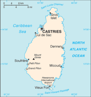 Outline of Saint Lucia - An enlargeable basic map of Saint Lucia