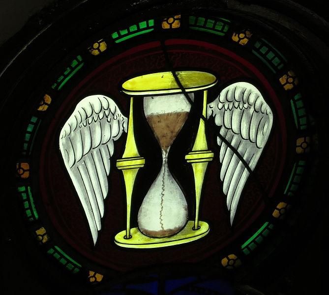 File:Saint Peter Church (Upper Sandusky, Ohio) - stained glass, Tempus Fugit - Time Flies.jpg
