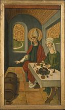 Saint Remigius Replenishing the Barrel of Wine; (interior) Saint Remigius and the Burning Wheat MET DT256630.jpg