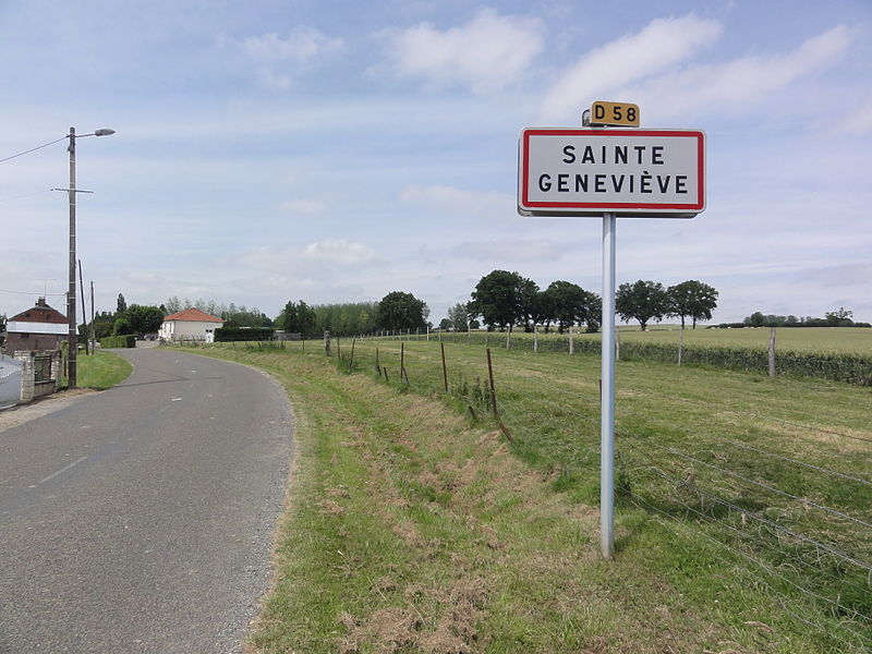 Sainte-Geneviève (Aisne) city limit sign