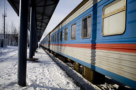 A passenger train in Nogliki Sakhalin Train.jpg