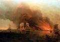 Samuel Scott, L'incendie de Payta, Novembre 1741, National Maritime Museum.png