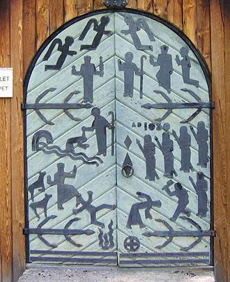 Olaf II of Norway - Modern wrought-iron vignettes of Olaf's life on the door of a stave church in Hardemo, Nerike, where Olaf baptized locals during his escape