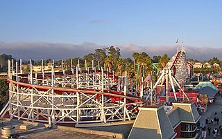 Giant Dipper historic roller coaster in Santa Cruz, California, USA
