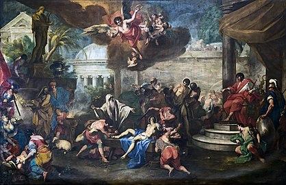 Santa Giustina (Padua) - Chapel of Saint Luke - Martyrdom of Saints Cosmas and Damian by Antonio Balestra