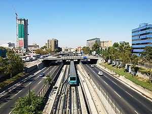 Autopista Central - Santiago Metro Line 2 which runs in parallel for part of the route.